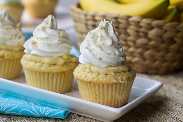 This Banana Pudding Cupcake Recipe has a pudding filling and a whipped cream topping. You'll love banana pudding in cupcake form!