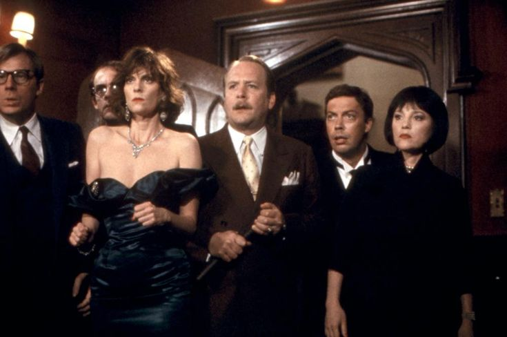 CLUE, Michael McKean, Christopher Lloyd, Lesley Ann Warren, Martin Mull, Tim Curry, Madeline Kahn, 1985  | Essential Film Stars, Tim Curry http://gay-themed-films.com/essential-film-stars-tim-curry/