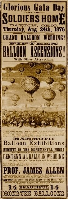 "1876 DAYTON OHIO VETERANS HOME BALLOON AVIATION POSTER REPRO 8.5""x28"""