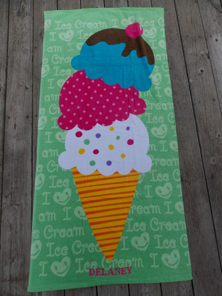 Ice Cream Personalized Beach Towel, Monogrammed Beach Towel, Pool Party Favor, Kids Beach Towel, Birthday Gift, Flower Gift Gift, Baby Gift by Crafting4Caleb on Etsy https://www.etsy.com/listing/229556851/ice-cream-personalized-beach-towel