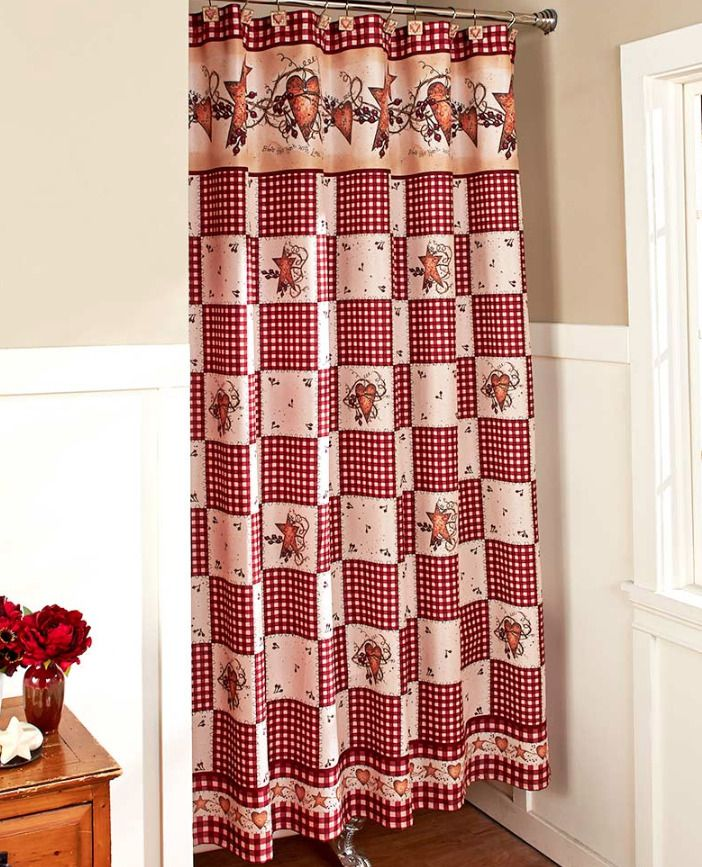 Rustic Primitive Shower Curtain Fabric Bathroom Decor Idea Country Hearts Stars Lcl Rusticpr Curtains