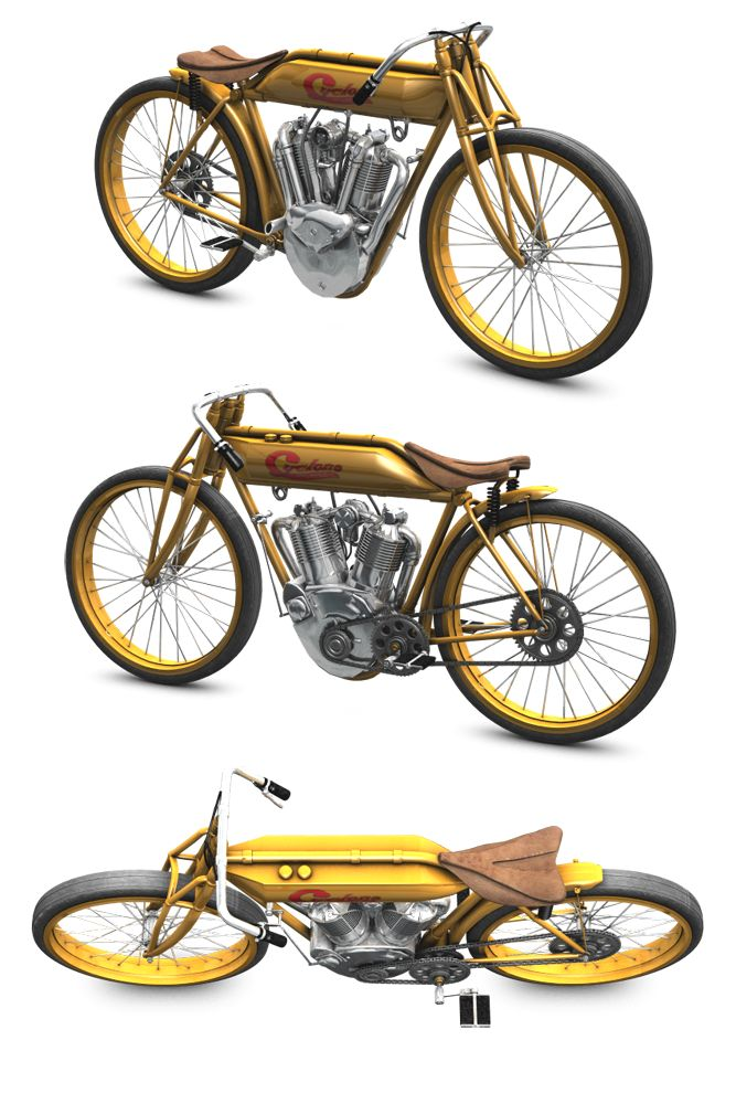This time a vintage mortorcycle, a 3d model inspired in the 1914 Cyclone racer.  Modelled in wings3d and rendered in Poser