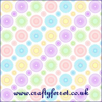 Free printable multi coloured on white spirelli flowers craft backing paper from www.craftyferret.co.uk