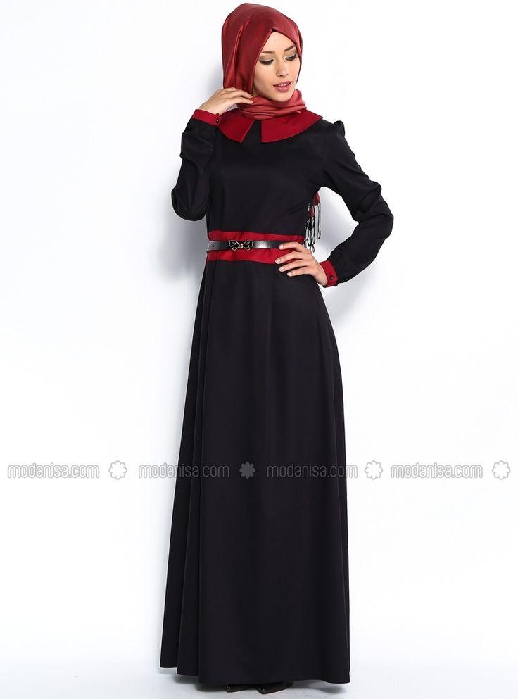 Широкий воротник поясом платье - синий и Бургундия - Бихи Хиджаб