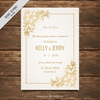 Wedding invitation decorated with golden flowers