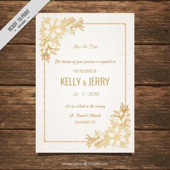 Invitación de boda decorada con flores doradas