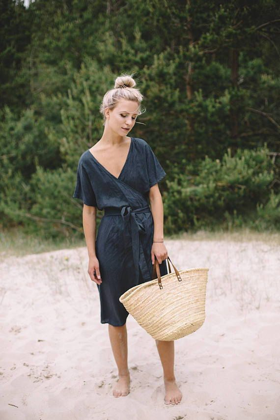 Our handmade product is not only about a certain look. It is about life. About feeling right about your surroundings and what you wear, about responsible understanding and global empathy. • MIMOSA DRESS / Loose wrap linen dress / Maternity linen dress / Linen dress / summer dress / spring dress #womensfashion #summerdresses #springstyle #springoutfit #ad #etsyseller