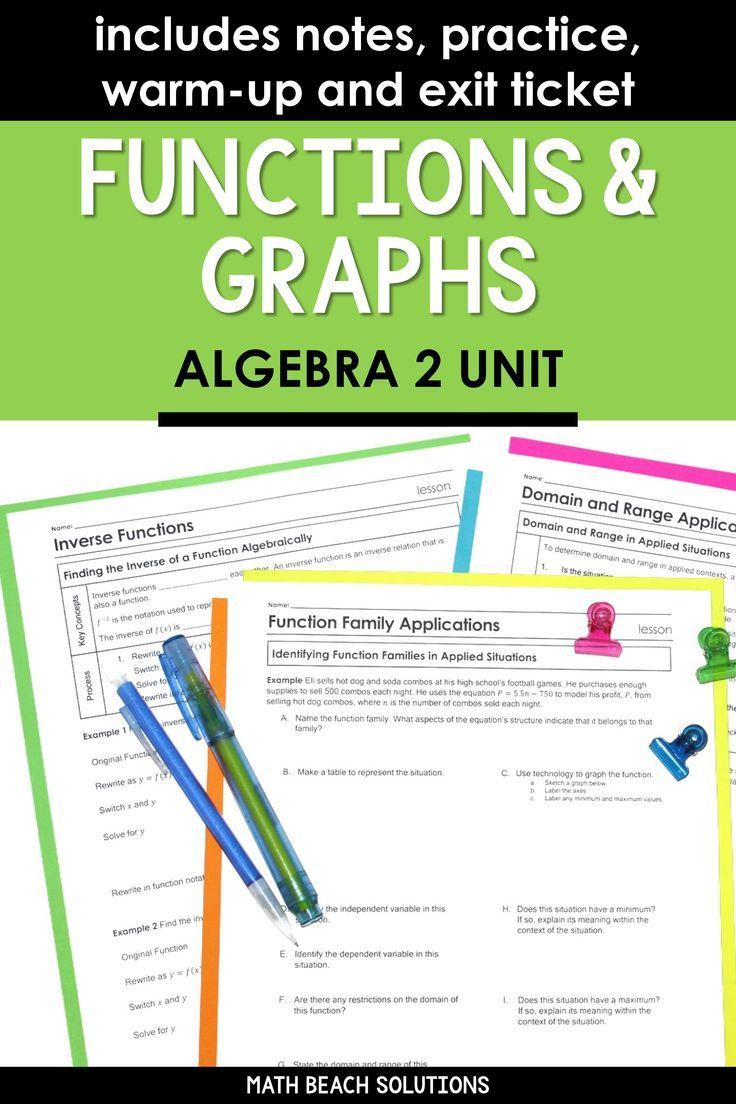 Unit 1 Functions And Graphs Algebra 2 Curriculum Algebra Common Core Algebra Linear Function