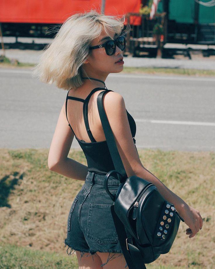 Sunglasses, top & denim black shorts by hayleetr