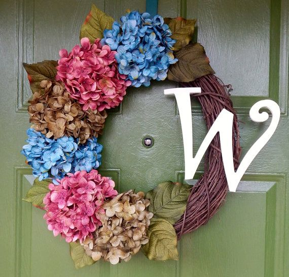Monogram Door Wreath-Spring Monogram by TheBeautifulDoor on Etsy