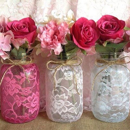 #etsy #pink #lace #vase #masonjar #handmade #bridalshower … | Flickr