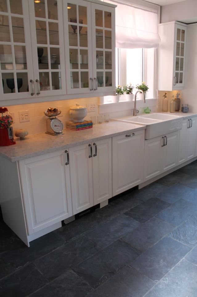 White Kitchen With Charcoal Slate Floor