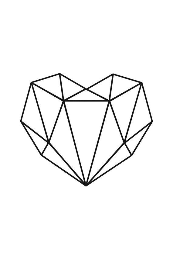 Coeur géométrique Poster à imprimer minimaliste coeur
