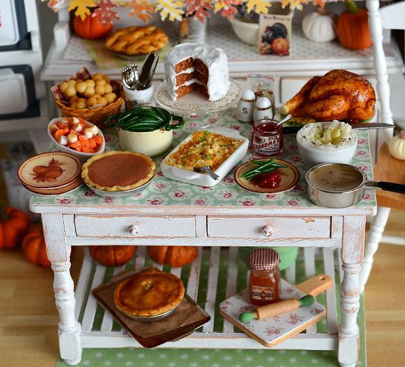 """""""RESERVED-Miniature Thanksgiving Prep Table~Shabby Vintage Style."""" I love this whole idea, I want to make this for my doll house."""