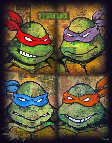 TMNT Group Print, Teenage Mutant Ninja Turtles, Comic Artwork, Signed and Numbered 11x14 Print by David Lizanetz