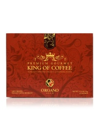 "KING OF COFFEE. Exclusively produced by Organo Gold, the ""King of Coffee"" proudly features Premium 100% Certified Organic Coffee infused with 100% Certified Ganoderma Spore Powder Extract"". High quality coffee beans and Ganoderma are just part of this great coffee. Fantastic paired with any food, its lighter coffee taste and fresh aroma is bound to make it a happy part of every day. 25 Sachets Per Box.$50.00"