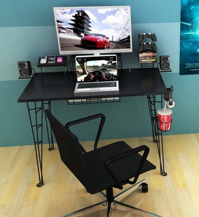 video gaming computer desk table for pc xbox ps4 monitor game