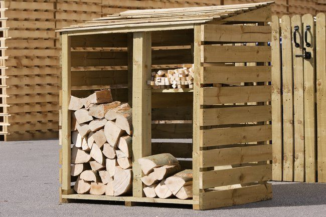 Log store made from pallets ...