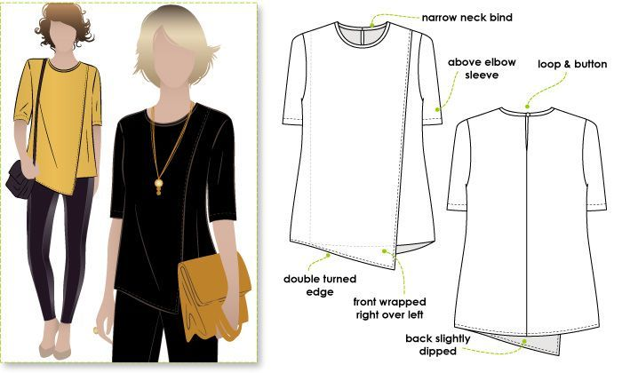 Fabulously wearable asymmetrical top with a short sleeve