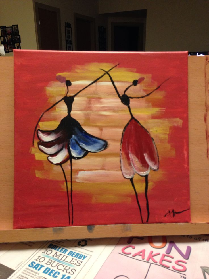Simple acrylic painting: dancing ladies