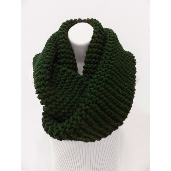 Knit big and chunky scarf. Oversize Crochet scarf. Hunter Infinity... ($45) ❤ liked on Polyvore featuring accessories, scarves, crochet round scarf, knit circle scarf, green scarves, infinity scarf and knit scarves
