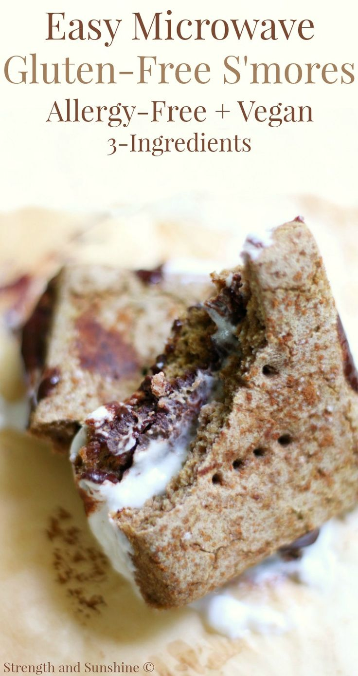 Easy 3-Ingredient Microwave Gluten-Free S'mores (Allergy-Free, Vegan) | Strength and Sunshine @Rebecca Pytell - Gluten-Free Allergy-Free Food & Recipe Developer @ Strength and Sunshine The laziest and easiest 3-ingredient recipe hack! Microwave Gluten-Free S'mores, top 8 allergy-free, vegan, and the perfect dessert or snack for when a chocolate, marshmallow, cookie craving hits and you don't have time to start a campfire!