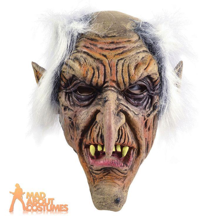 Adult Goblin Mask Old Man Halloween Scary Horror Fancy Dress Accessory New