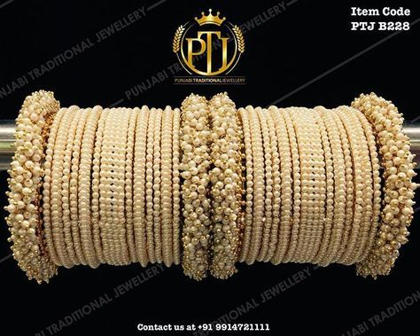 "Punjabi Traditional ""Gold Plated Pearl Bangles Set"""
