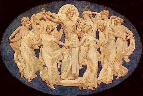 Apollo and the Nine Muses: Clio, Thalia, Erato, Euterpe, Polyhymnia, Calliope, Terpsichore, Urania, Melpomene-John Singer Sargent ,1925
