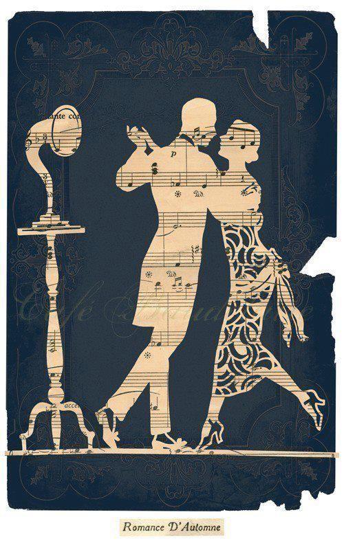 Paper cut, stencil art, sheet music, book cover, dance, gramophone, record player .