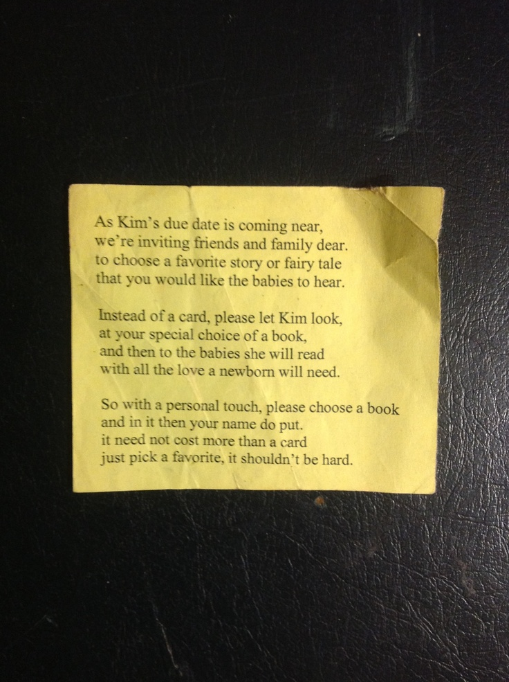 Poem Insert For Baby Shower Invitations Instead Of