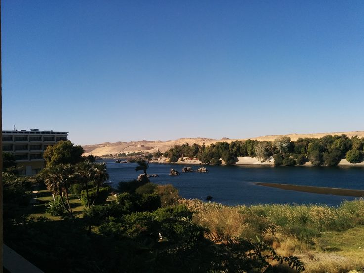 View from Movenpick hotel on the elephantine island in the middle of the nile in Aswan