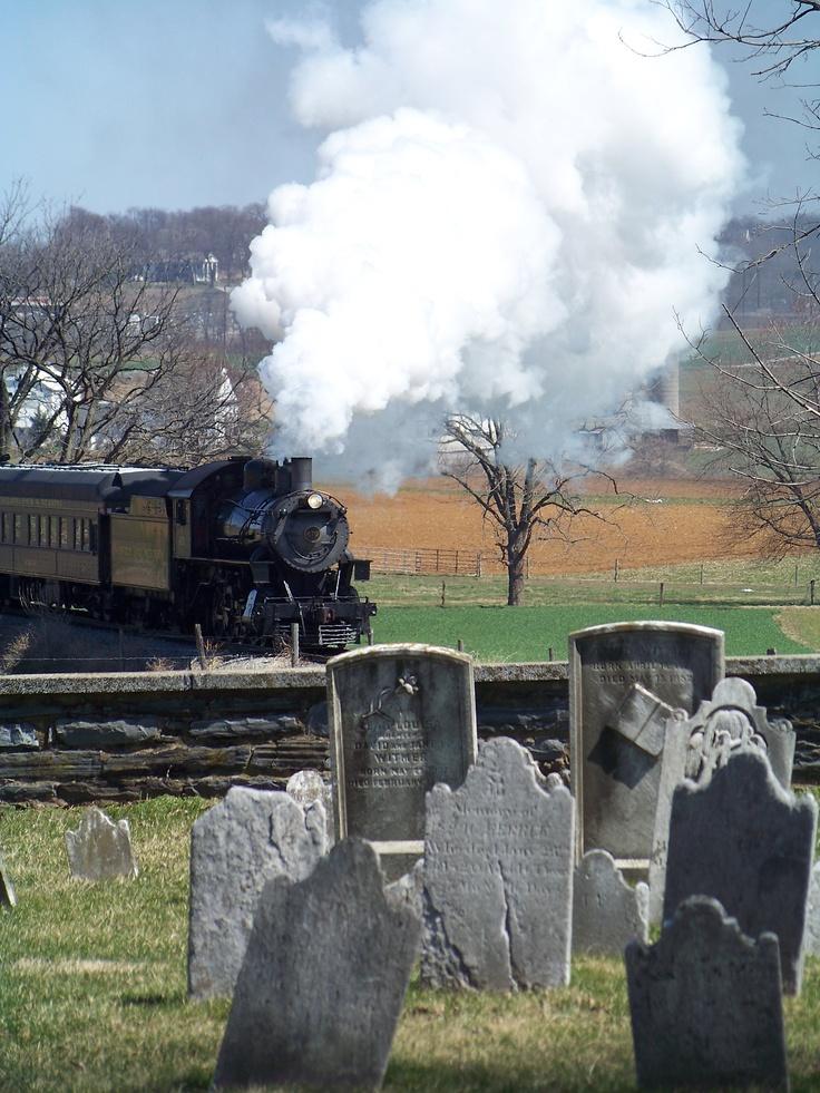 Strasburg PA Steam train from cemetary