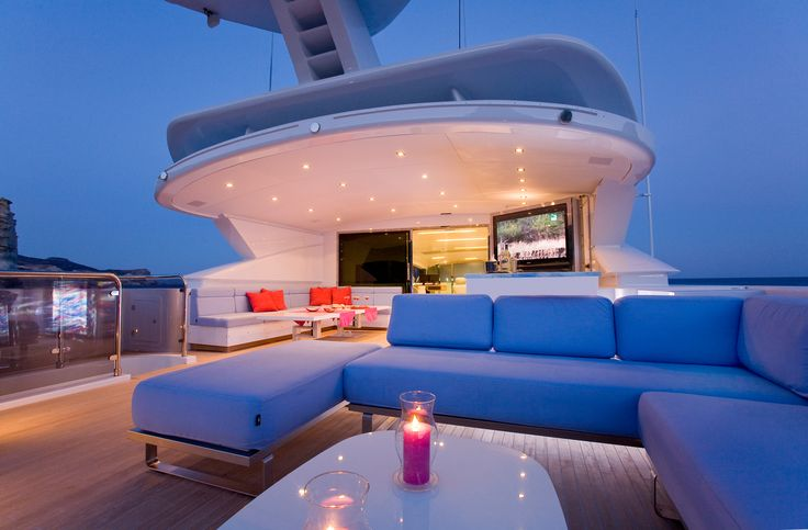 MY Barents Sea Yacht in Greece - The deck by night