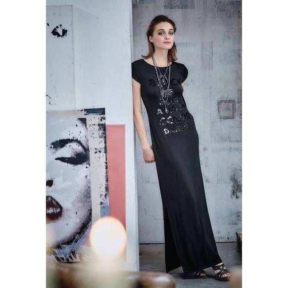 Statement aus schwarzen Pailletten - lang und gerade geschnittenes schwarzes Kleid