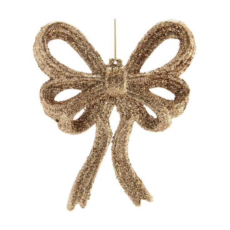 Elegant bow Christmas ornament with gold glitter. A trendy version of the classic bow.