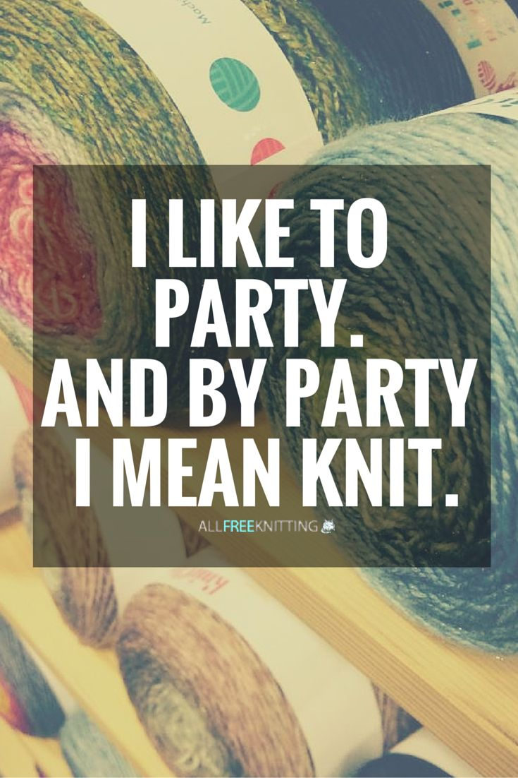 I like to party. And by party I mean knit.