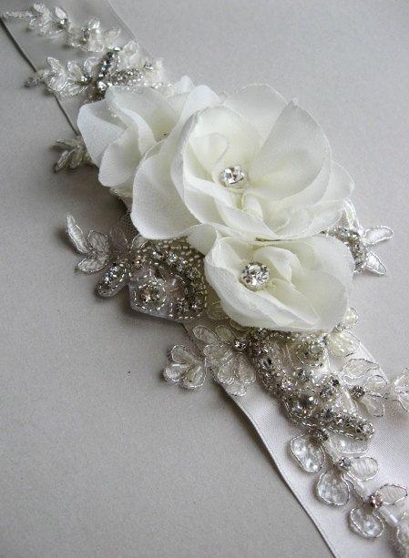 Bridal sash, Ivory floral sash blet, rhinestone sash belt, wedding accessory, romantic dress sashes belts lace chiffon pearls rhinestone on Etsy, $88.00