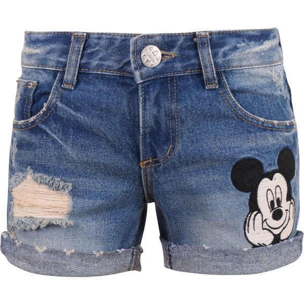 Disney Vintage Distressed Washed Cotton Denim Mickey Mouse Summer... ($50) ❤ liked on Polyvore featuring shorts, blue, lullabies, vintage shorts, disney shorts, vintage ripped shorts, summer shorts and ripped shorts