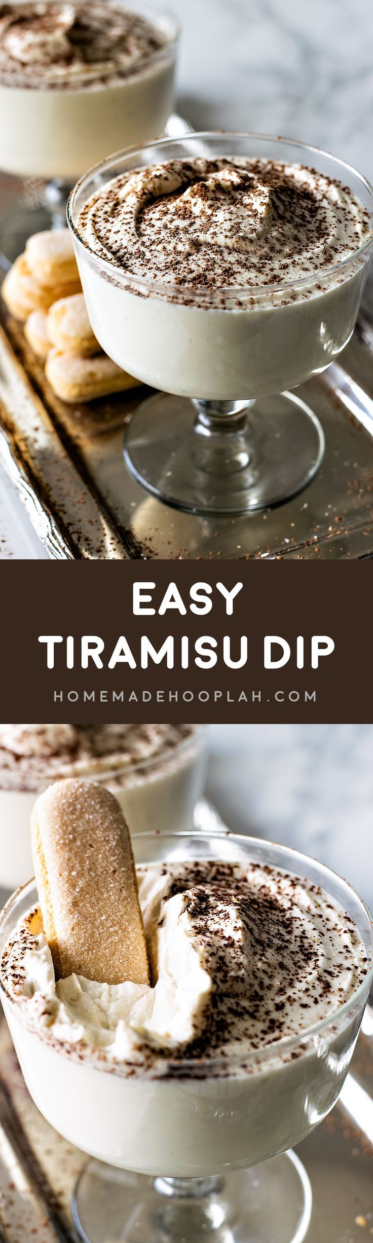 Easy Tiramisu Dip! A decadent dip that tastes just like a tiramisu dessert but made in a fraction of the time. All the taste without all the trouble! | HomemadeHooplah.com