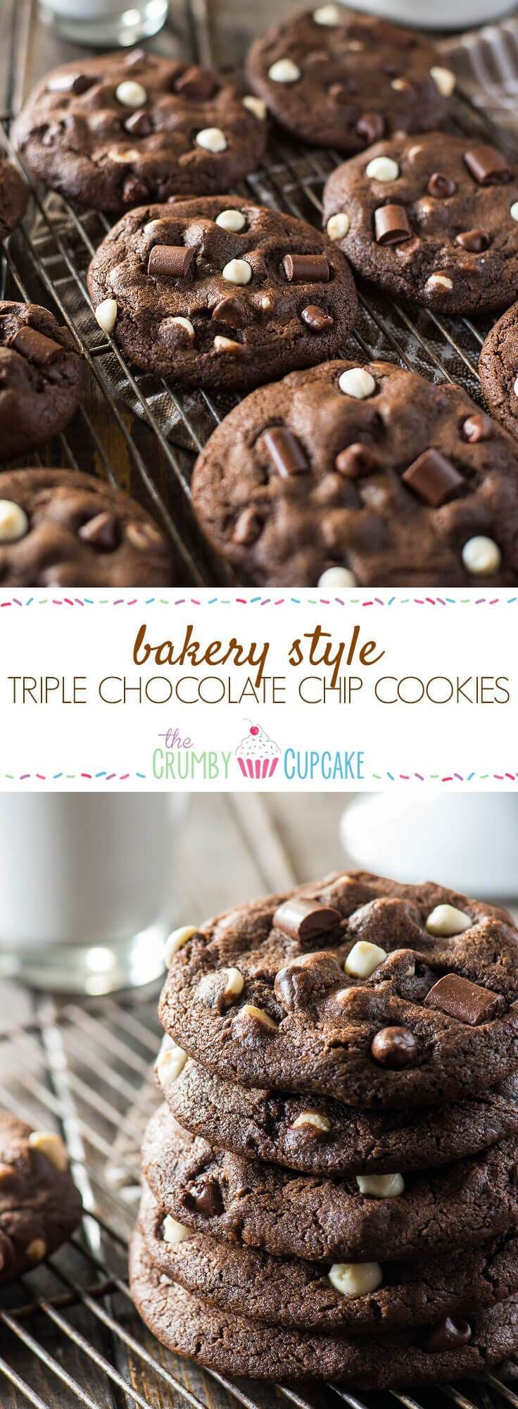 These super soft, extra chewy, totally over-sized Bakery Style Triple Chocolate Chip Cookies are about to become the new best friend to your next glass of milk!