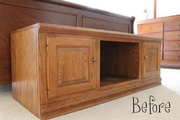bench before ugly tv stand to adorable window seat or end of bed bench furniture pinterest. Black Bedroom Furniture Sets. Home Design Ideas