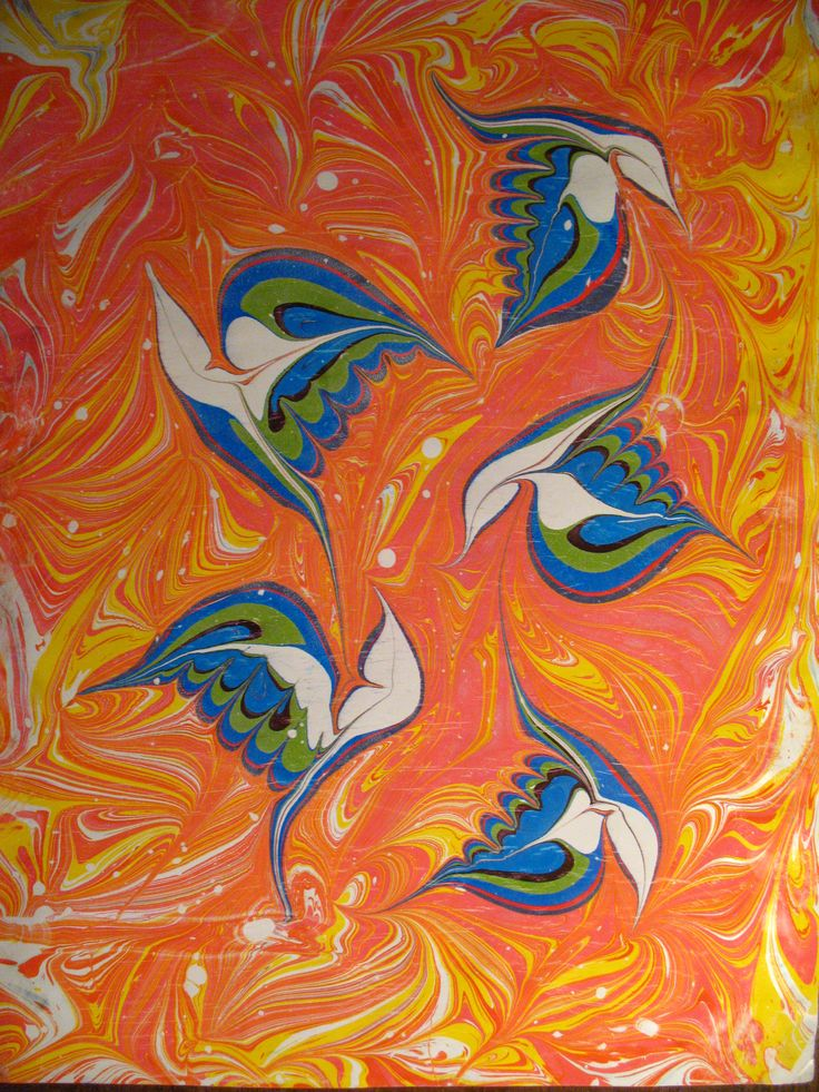 Ebru-birds. (Paper) Mais