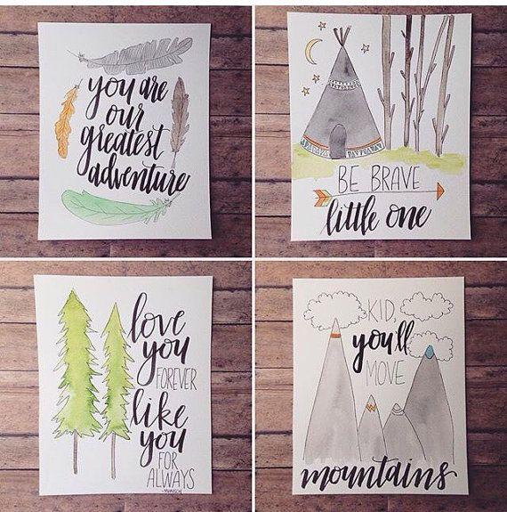 Set of Four Nursery Pieces//Buy 3 Get 1 Free// Baby Boy Room Decor// Tribal Inspired// Adventure Themed Nursery Prints// Playroom Decor
