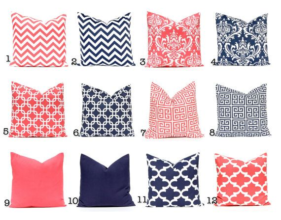 Coral and Navy Decorative Pillow Covers Coral by FestiveHomeDecor