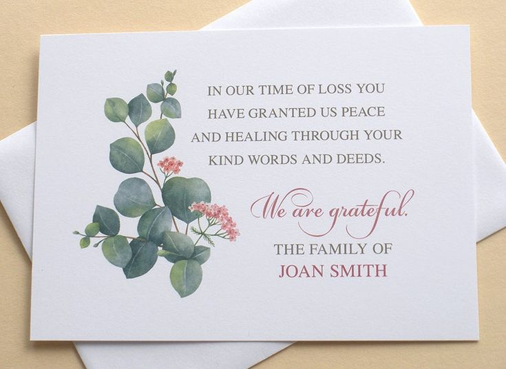 Personalized funeral thank you cards with eucalyptus and