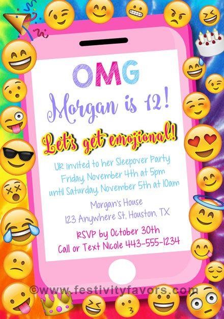 Emoji Party Birthday Invitations $1.00 each http://www.festivityfavors.com/item_981/Emoji-Party-Birthday-Invitations.htm