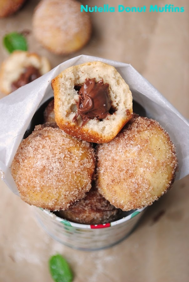 Nutella filled baked donut Muffins | Sweets | Pinterest