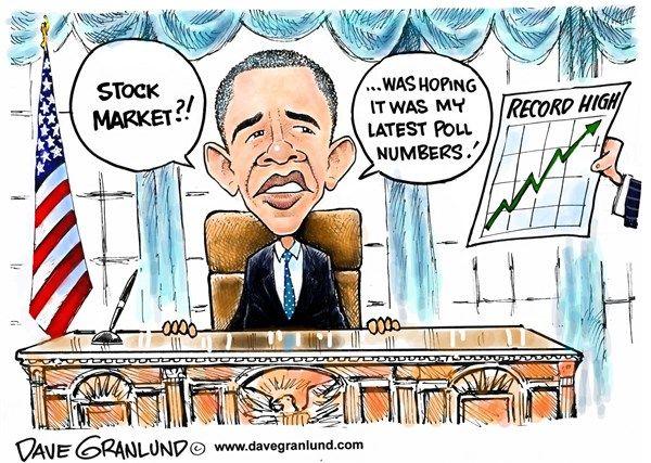 Dave Granlund - Politicalcartoons.com - #Obama polls and #stockmarket. #nobama