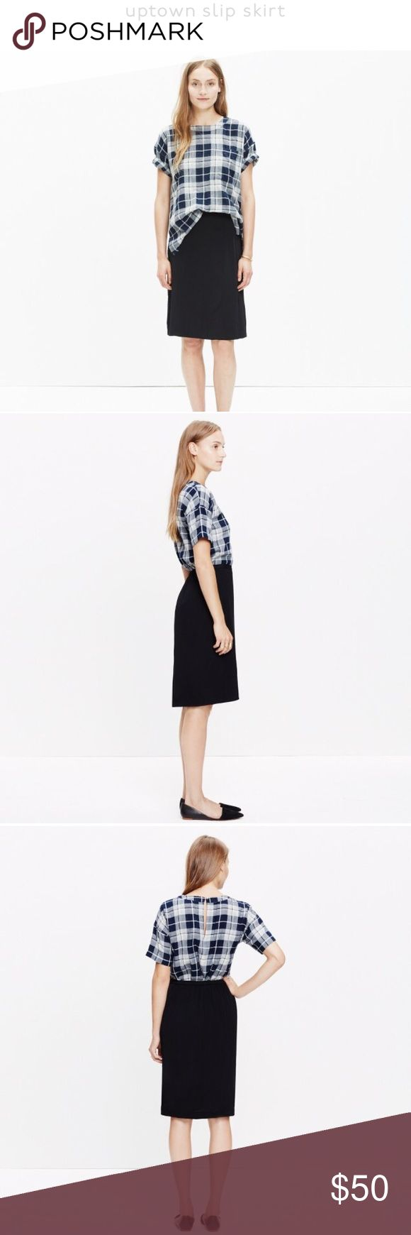Madewell Uptown Slip Skirt NWT sleek slip skirt in a streamlined midi style. Elasticized back waist. A-line skirt. Measurements (laying flat): waist 30 inches, length 24 inches. Materials: 100% viscose (lining is 100% polyester). Dry clean. Madewell Skirts Midi